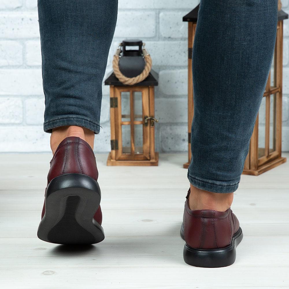 Imagine Pantofi casual bărbați piele naturală 552 Vișiniu