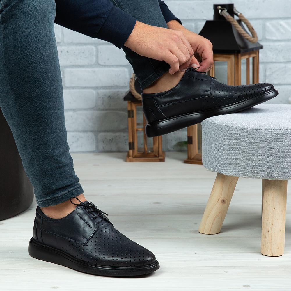 Imagine Pantofi casual bărbați piele naturală 558 G Blue