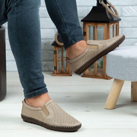 Imagine Pantofi casual bărbați piele naturală 600 Bej deschis