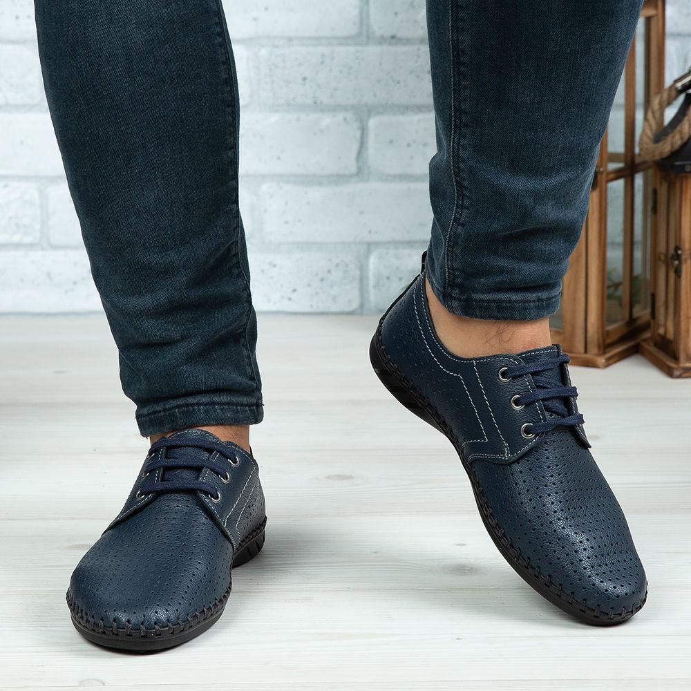 Imagine Pantofi casual bărbați piele naturală 650 Blue