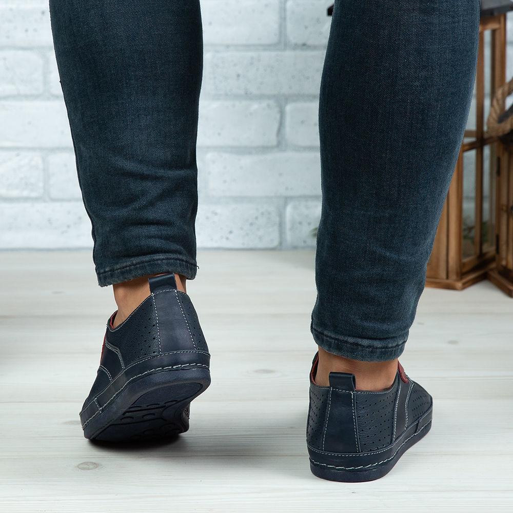 Imagine Pantofi casual bărbați piele naturală 690 Blue 0142