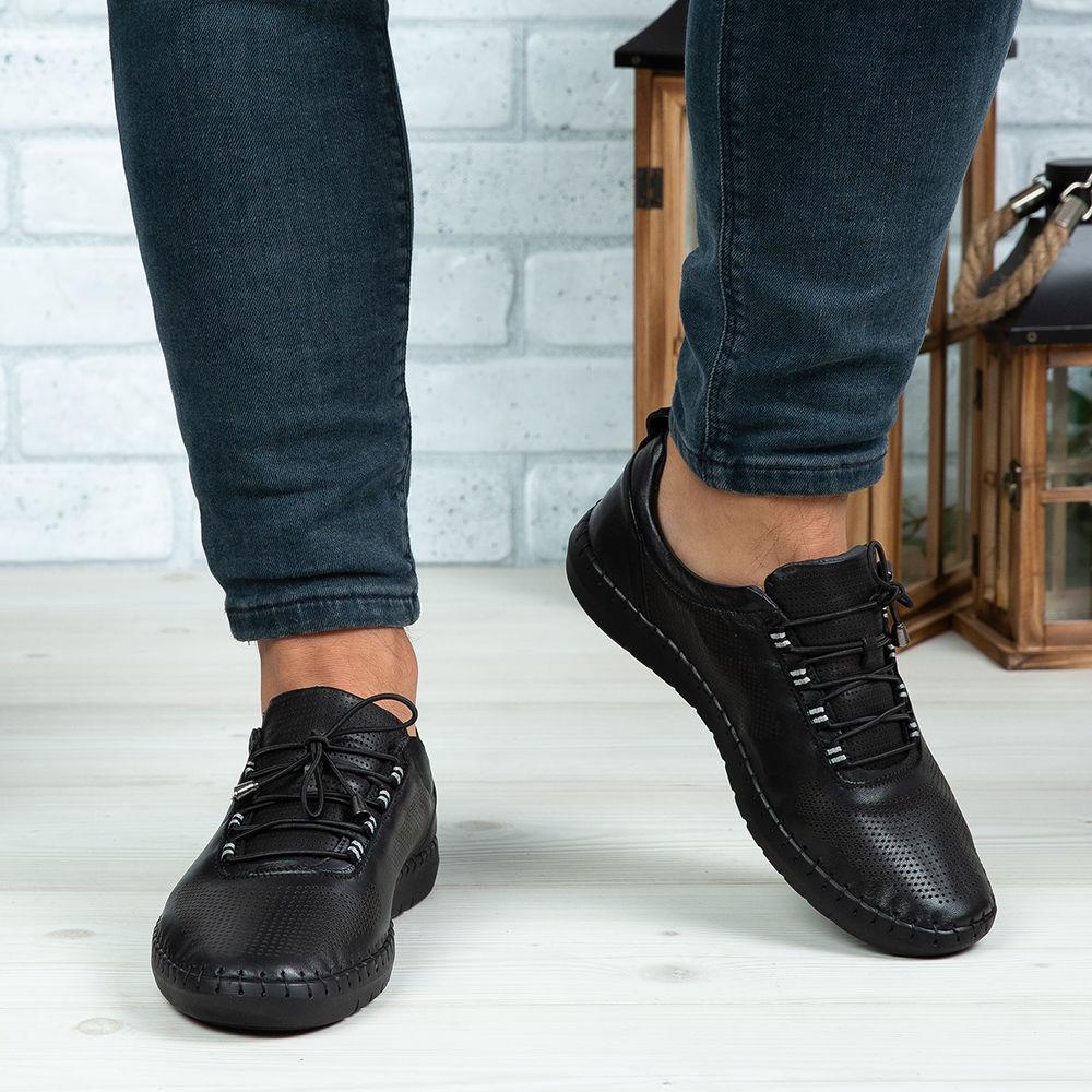 Imagine Pantofi casual bărbați piele naturală 691 Negru