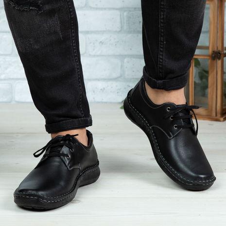 Imagine Pantofi casual bărbați piele naturală Cov Negru