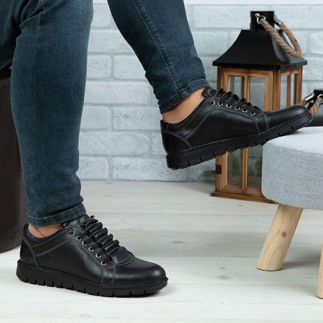 Imagine Pantofi sport bărbați piele naturală 433 Negru