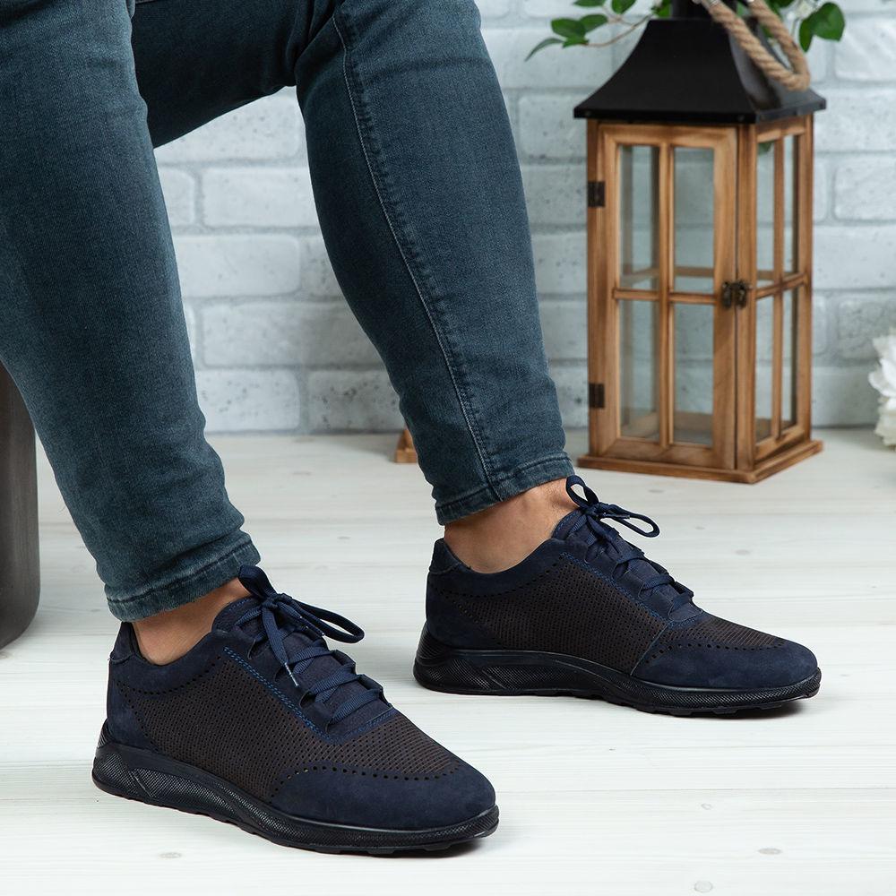 Imagine Pantofi sport bărbați piele naturală 447  Blue