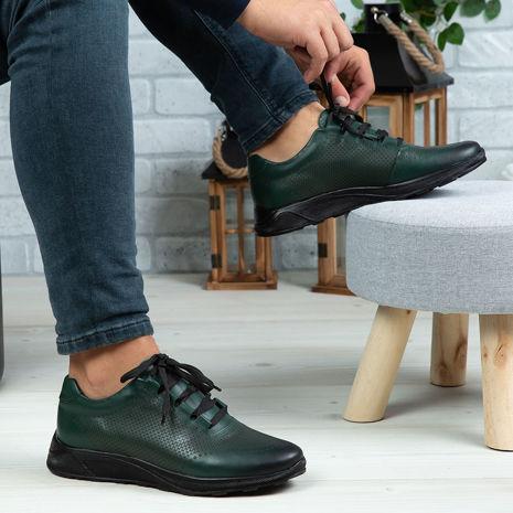 Imagine Pantofi sport bărbați piele naturală 447 Verde TN