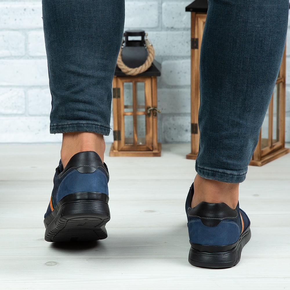 Imagine Pantofi sport bărbați piele naturală 444 Blue