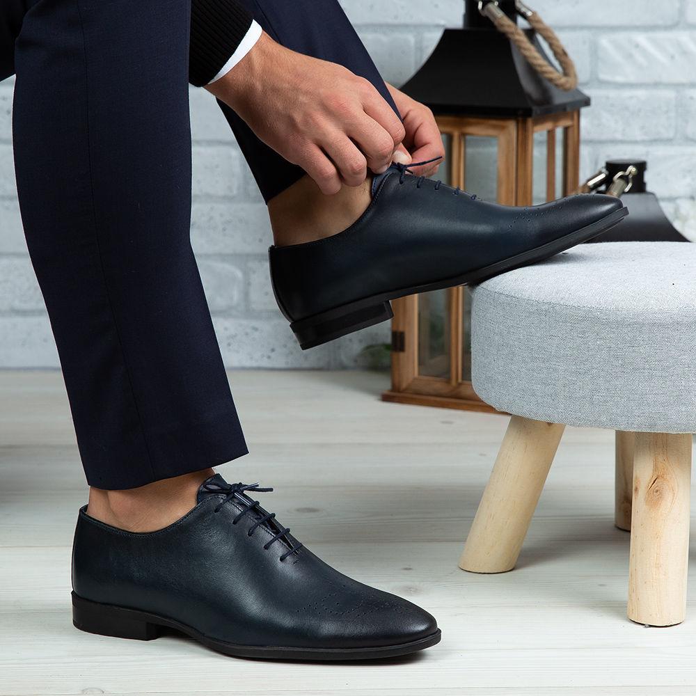 Imagine Pantofi eleganți bărbați piele naturală O23 Blue