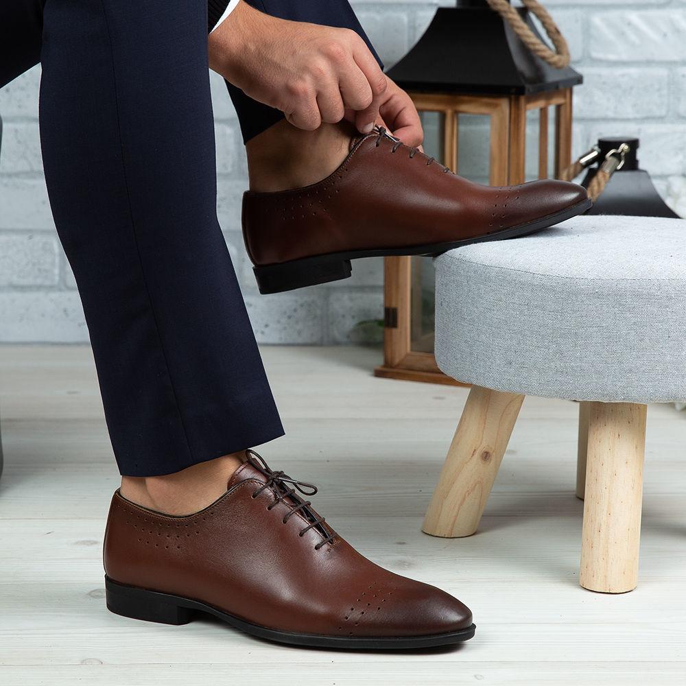 Imagine Pantofi eleganți bărbați din piele naturală O24 Maro