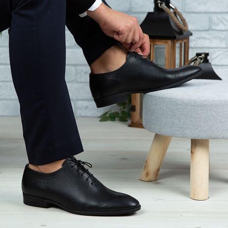 Imagine Pantofi eleganți bărbați din piele naturală O24 Negru