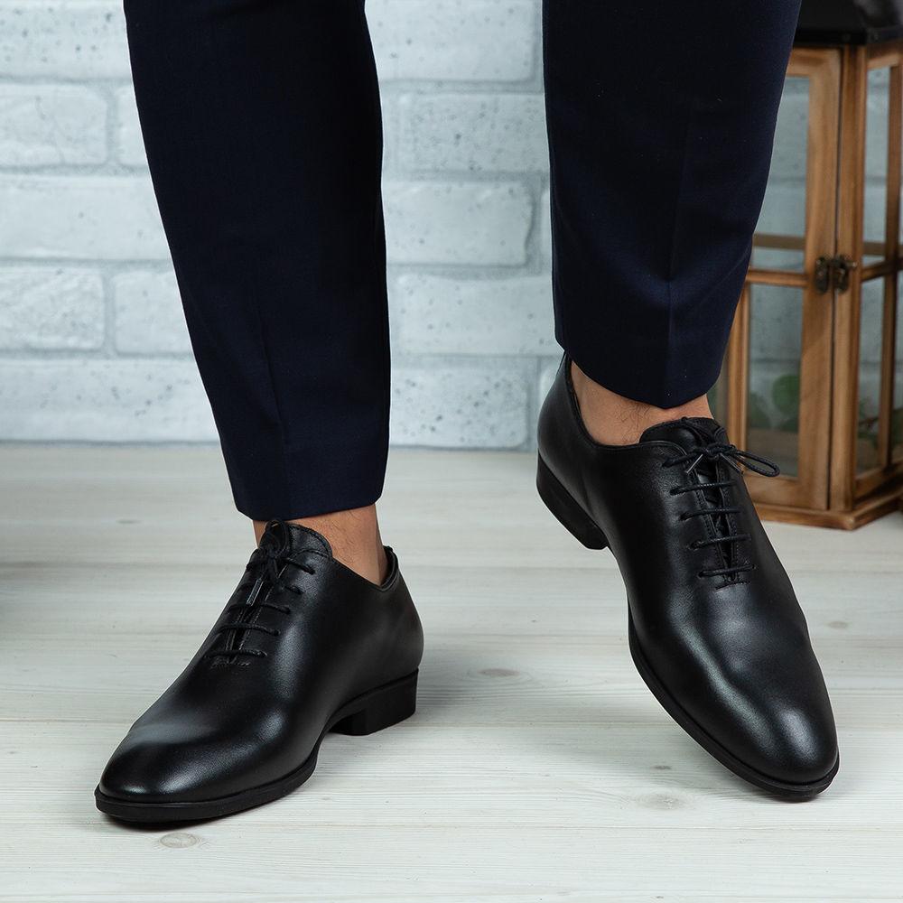 Imagine Pantofi eleganți bărbați din piele naturală O25 Negru