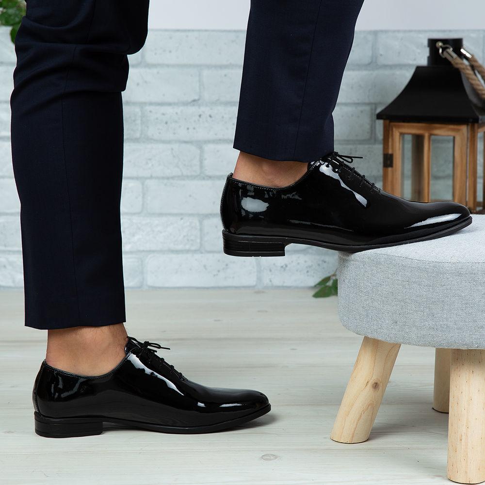 Imagine Pantofi eleganți bărbați din piele naturală O25 Negru Lac