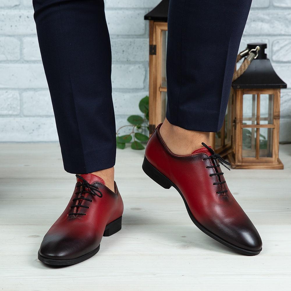 Imagine Pantofi eleganți bărbați din piele naturală O25 Roșu