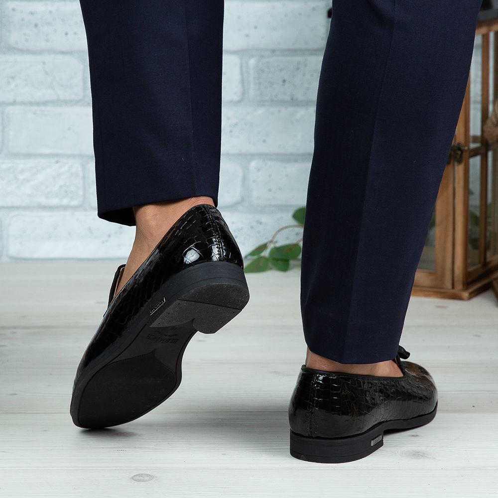 Imagine Pantofi eleganți bărbați din piele naturală O99 Negru Croco