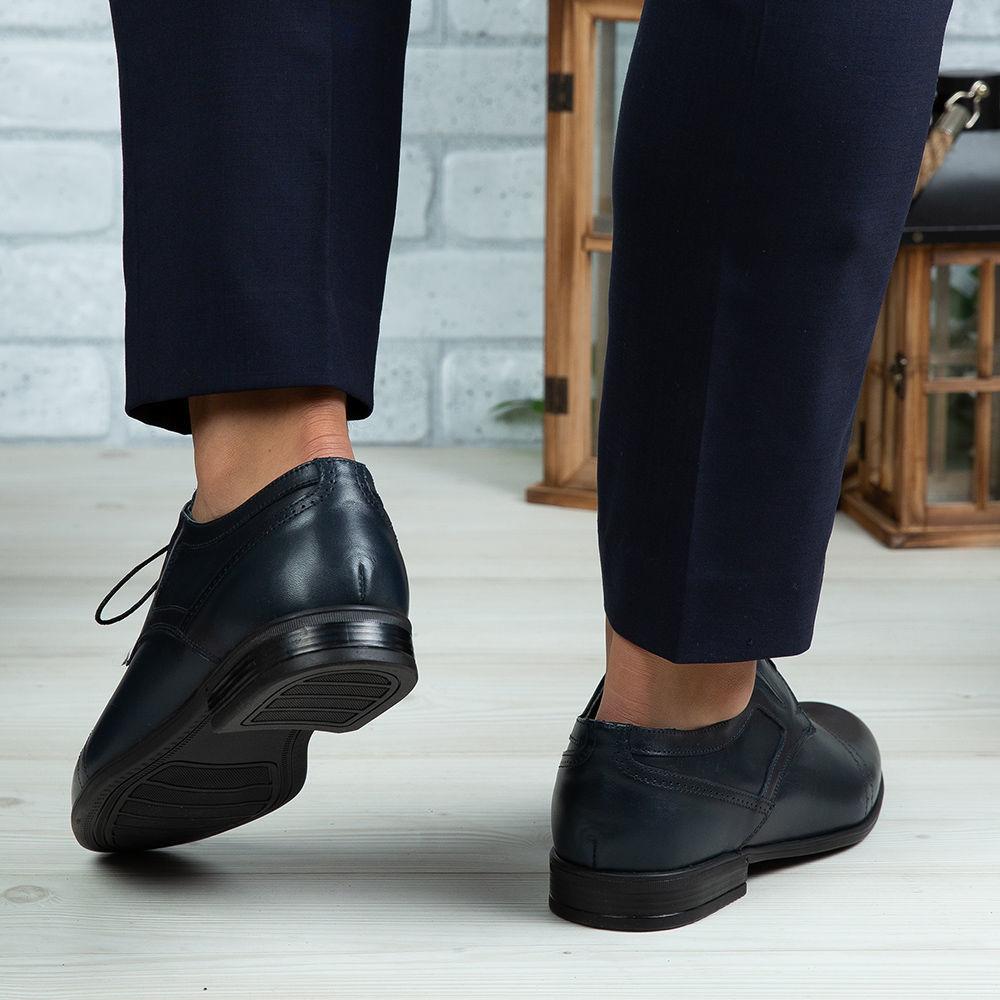 Imagine Pantofi eleganți bărbați din piele naturală 350 Blue