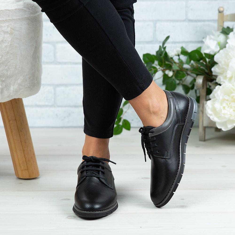 Imagine Pantofi copii piele naturală 400Y Negru