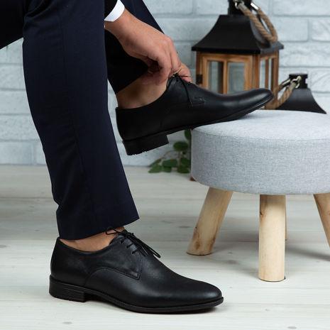 Imagine Pantofi eleganți bărbați din piele naturală 1050 Negru