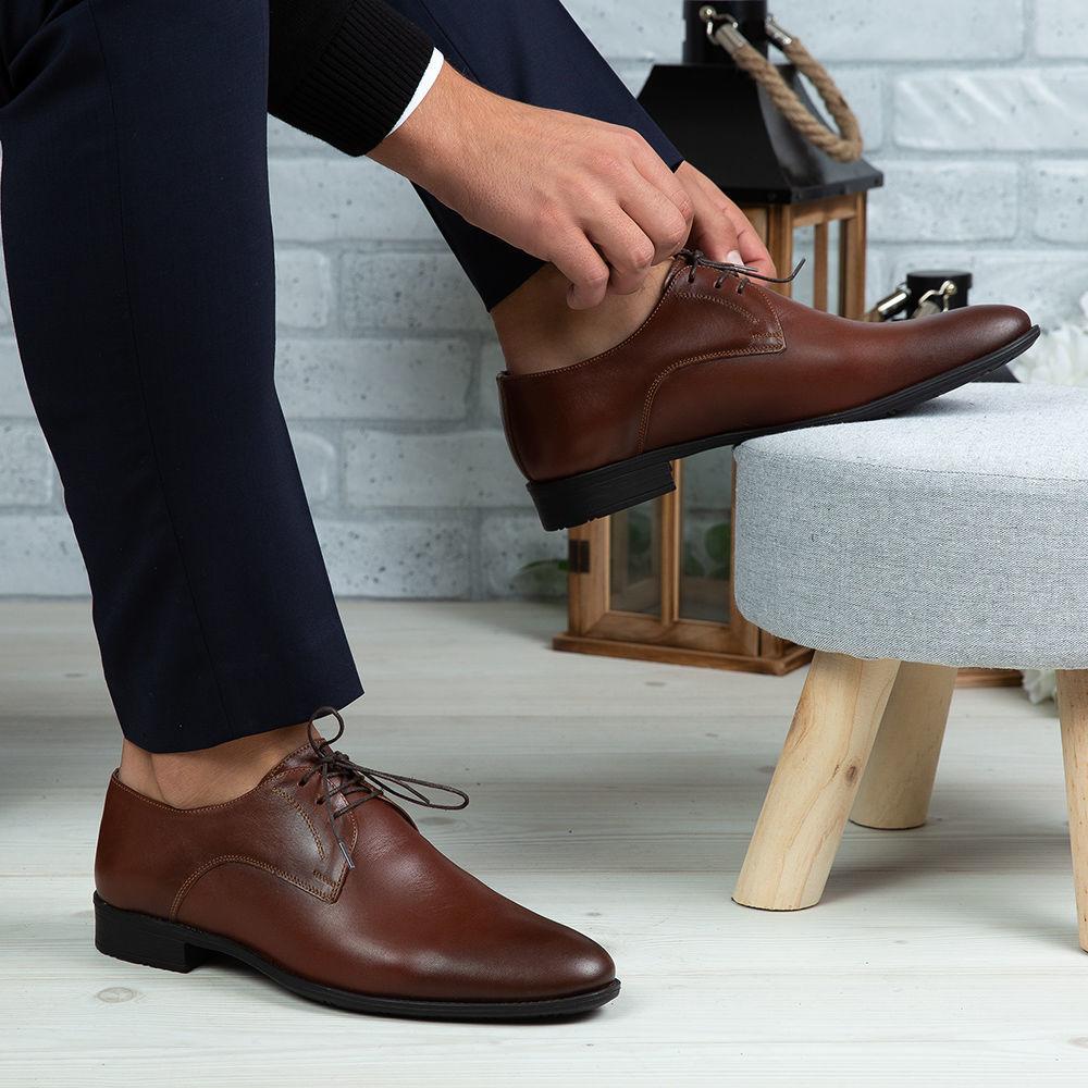Imagine Pantofi eleganți bărbați din piele naturală 1050 Maro