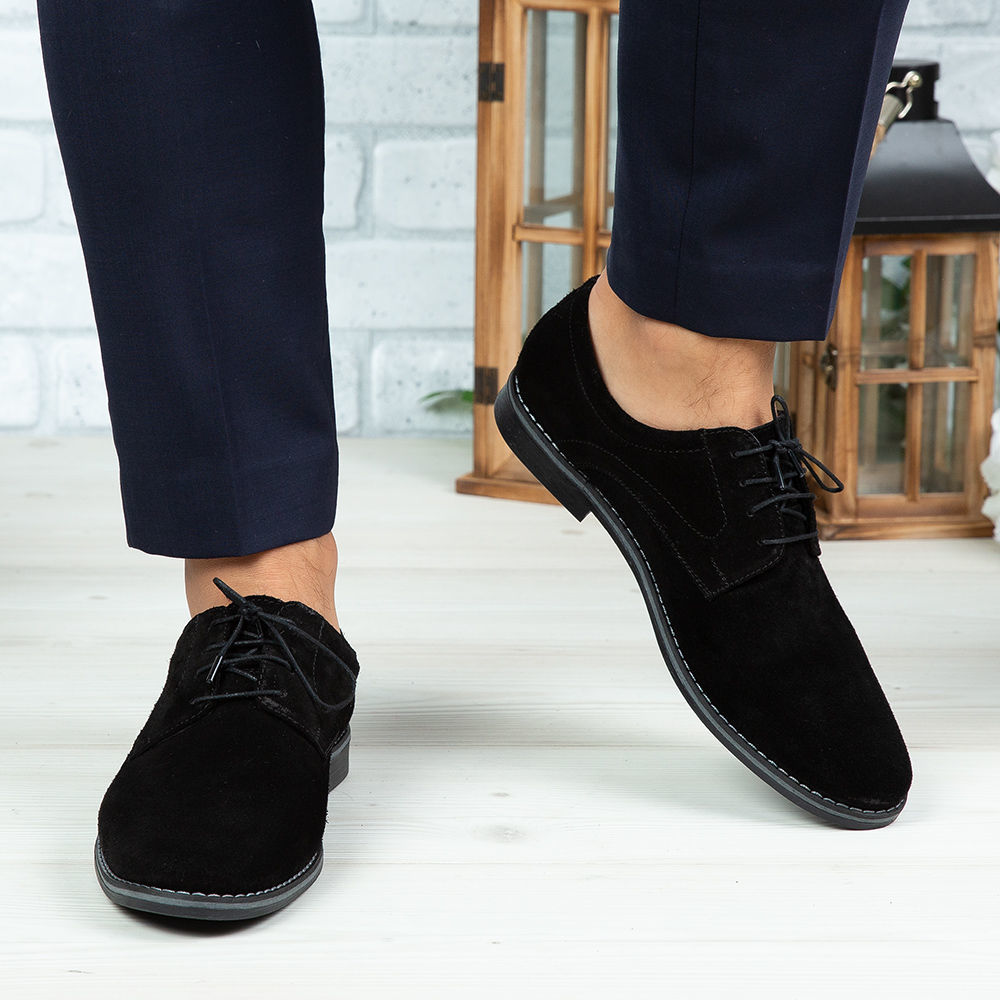 Imagine Pantofi eleganți bărbați din piele naturală 506 Negru Velur