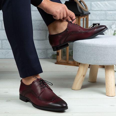 Imagine Pantofi eleganți bărbați din piele naturală 399 Vișiniu