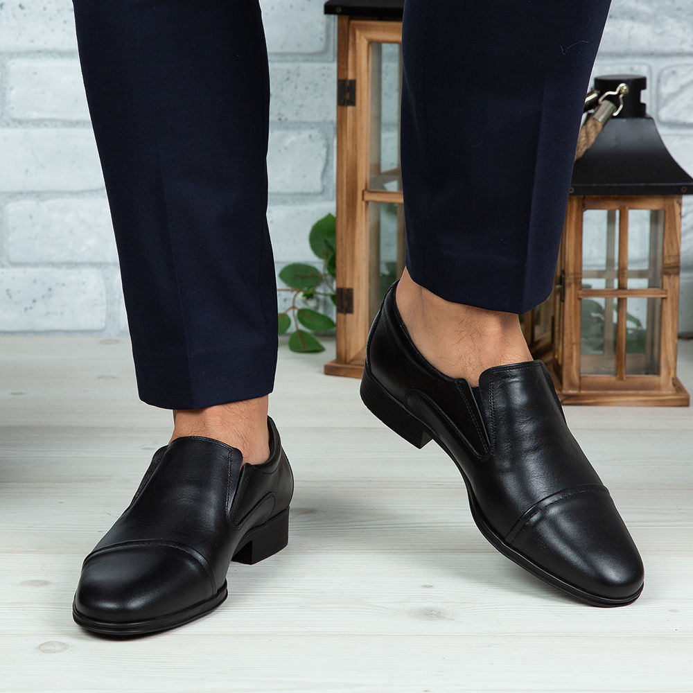 Imagine Pantofi eleganți bărbați din piele naturală 301-R2 Negru
