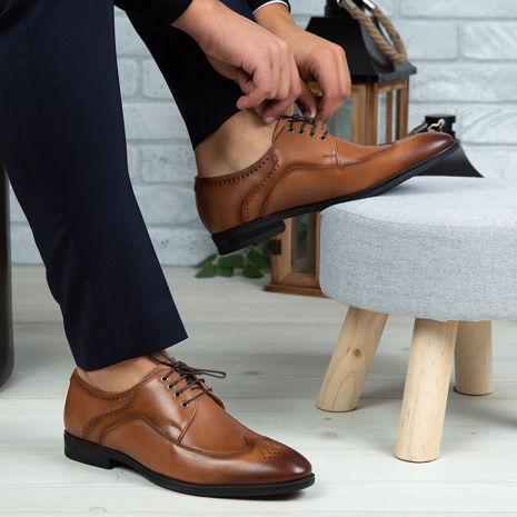 Imagine Pantofi eleganți bărbați din piele naturală 399 MD Maro