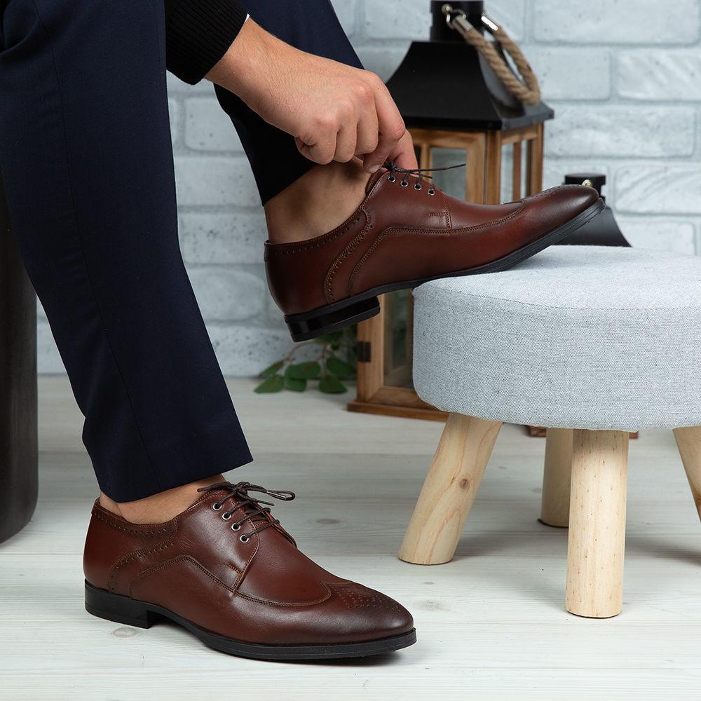 Imagine Pantofi eleganți bărbați din piele naturală 399 Maro