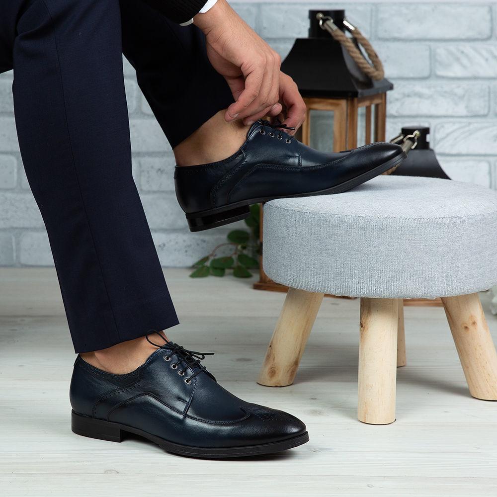 Imagine Pantofi eleganți bărbați din piele naturală 399 Blue