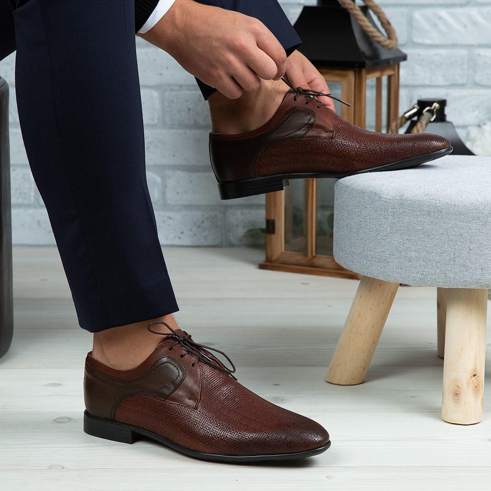 Imagine Pantofi eleganți bărbați din piele naturală 398 Maro