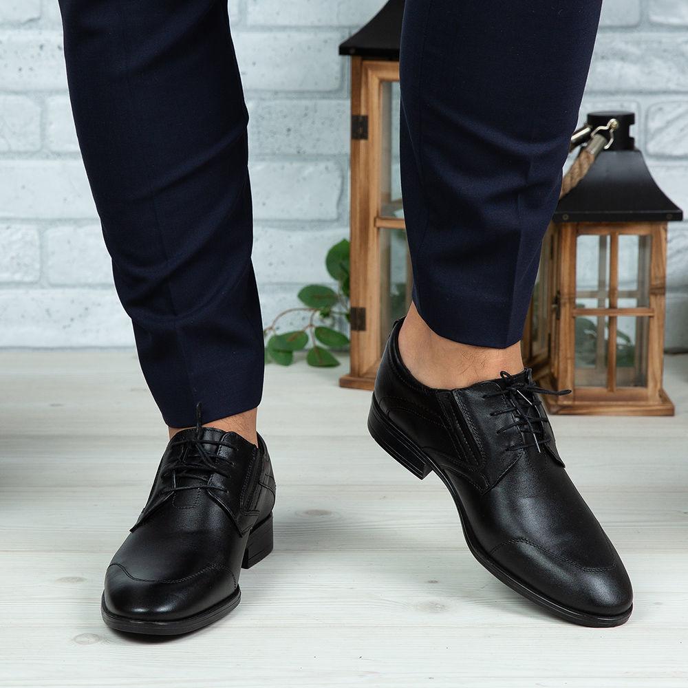 Imagine Pantofi eleganți bărbați din piele naturală 396 Negru