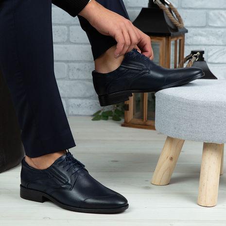 Imagine Pantofi eleganți bărbați din piele naturală 396 Blue