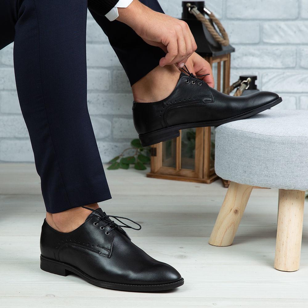 Imagine Pantofi eleganți bărbați din piele naturală 395-S Negru