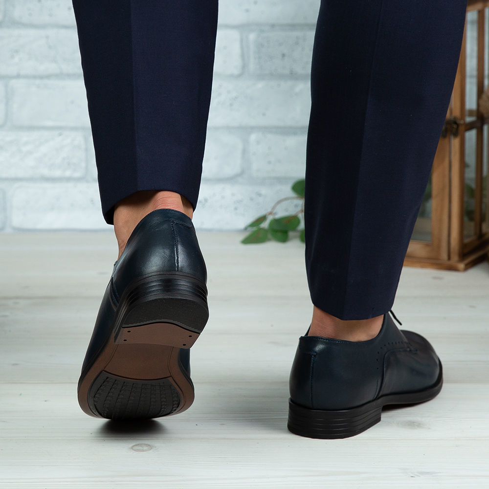 Imagine Pantofi eleganți bărbați din piele naturală 395-S Blue