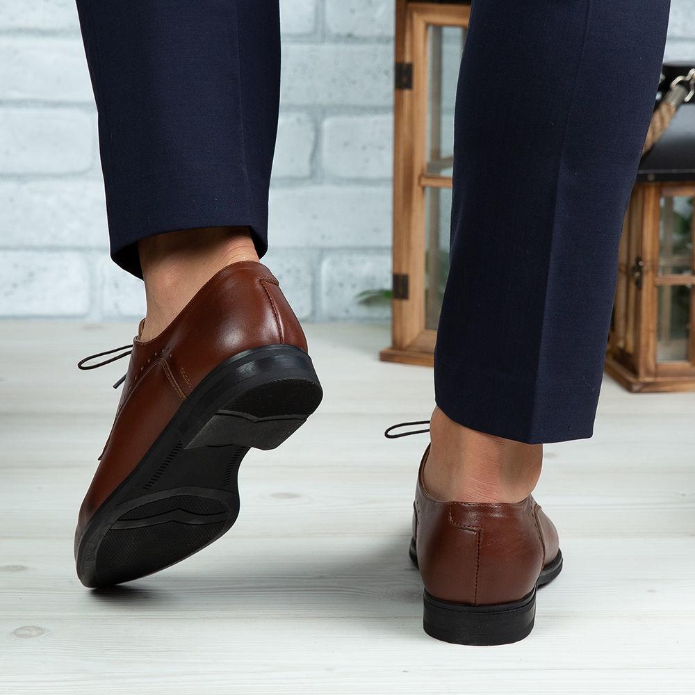 Imagine Pantofi eleganți bărbați din piele naturală 395 Maro