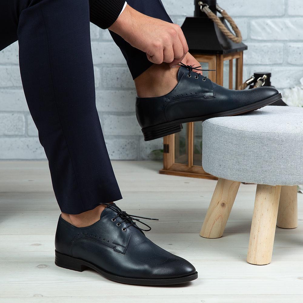 Imagine Pantofi eleganți bărbați din piele naturală 395 Blue
