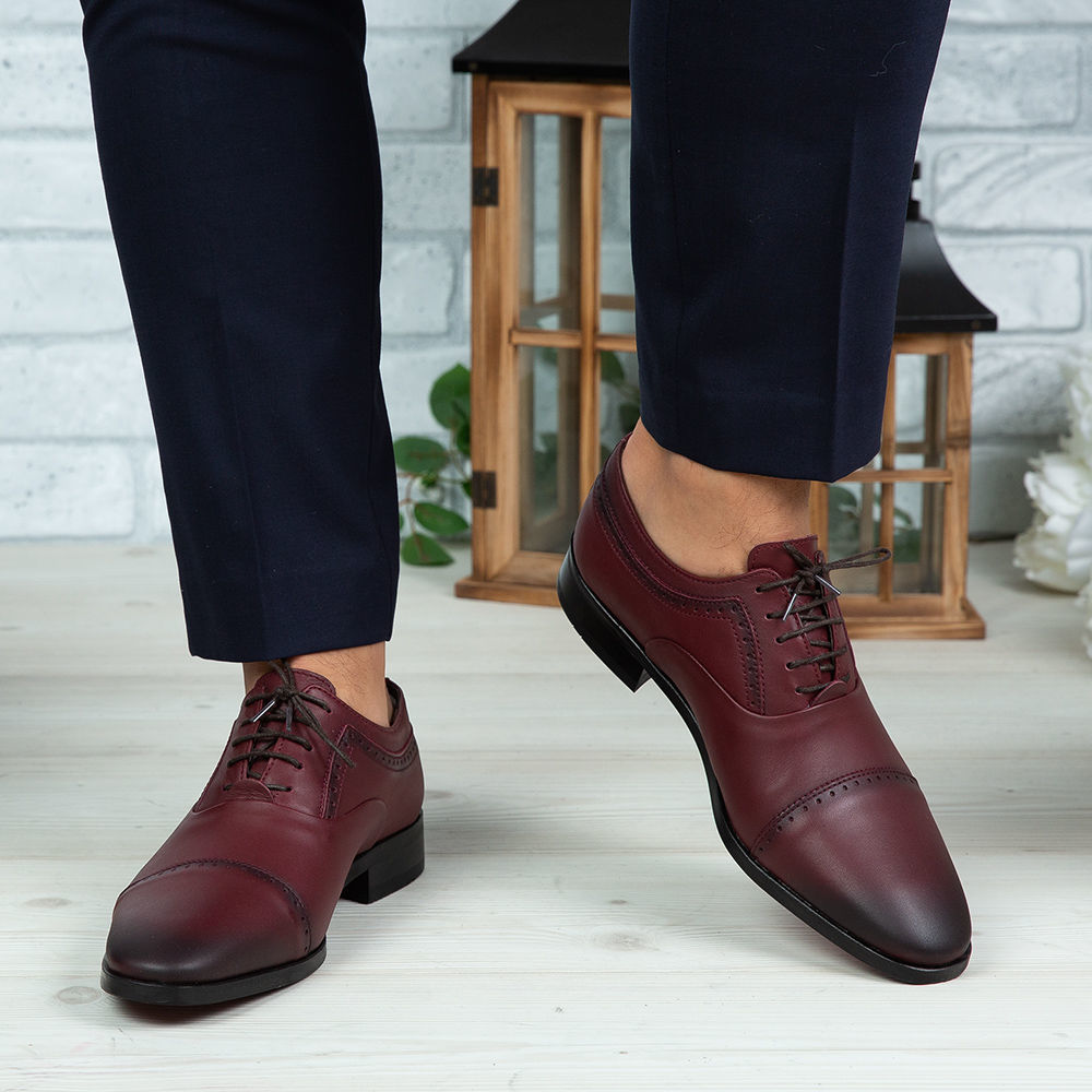 Imagine Pantofi eleganți bărbați din piele naturală 394 Vișiniu