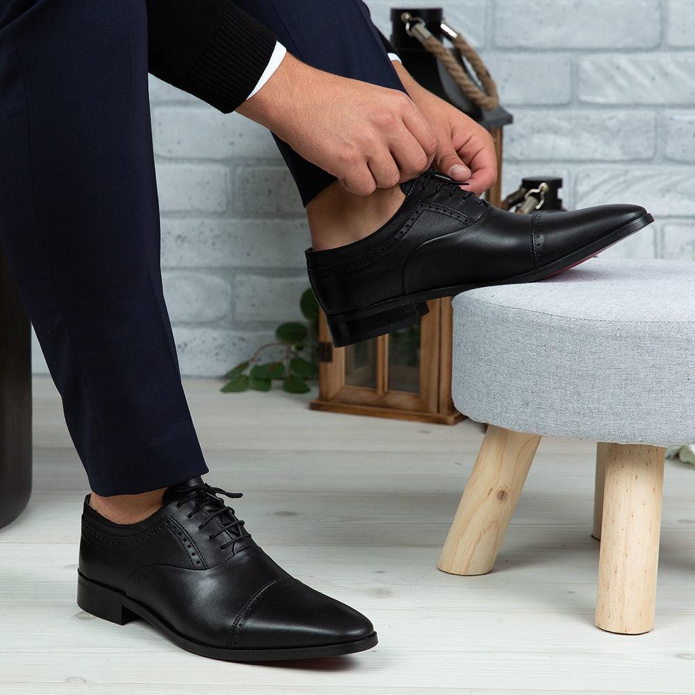 Imagine Pantofi eleganți bărbați din piele naturală 394 Negru