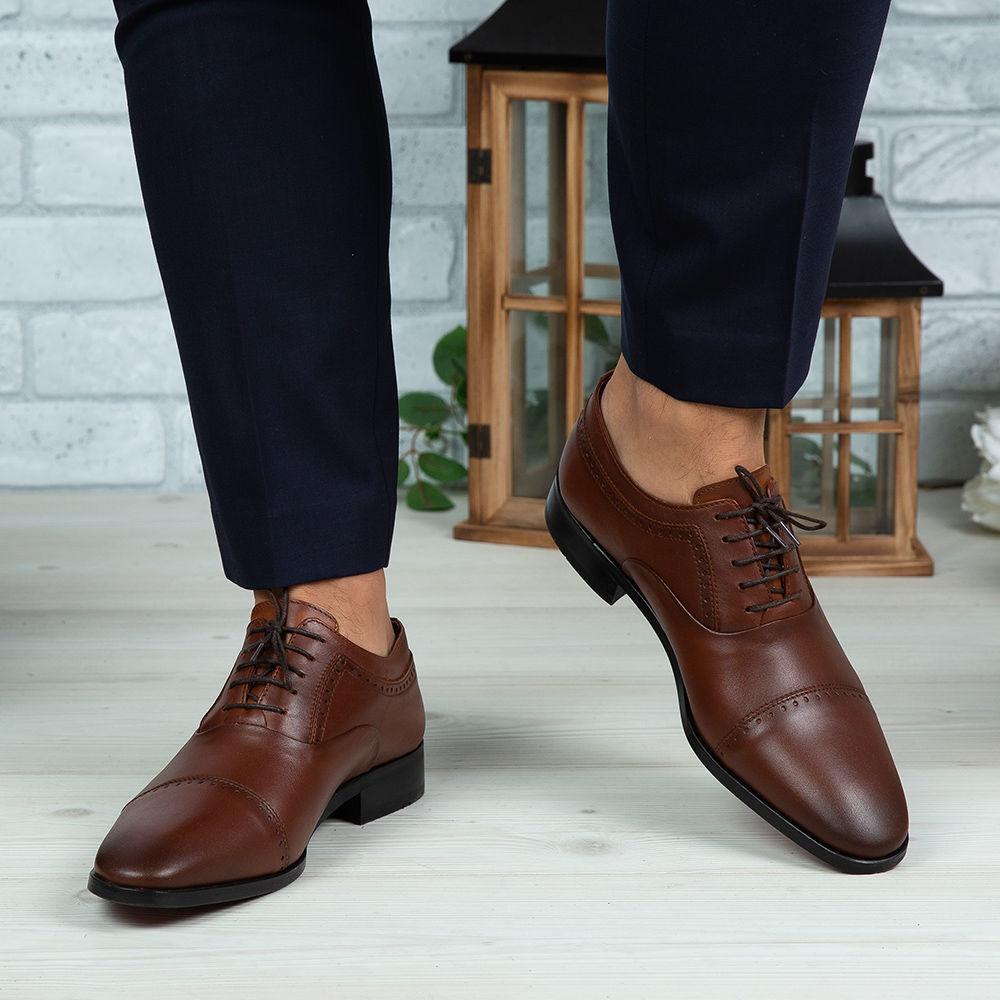 Imagine Pantofi eleganți bărbați din piele naturală 394 Maro