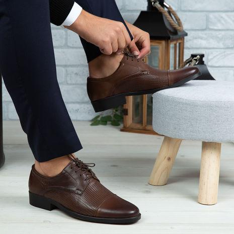 Imagine Pantofi eleganți bărbați din piele naturală 309 MP Maro