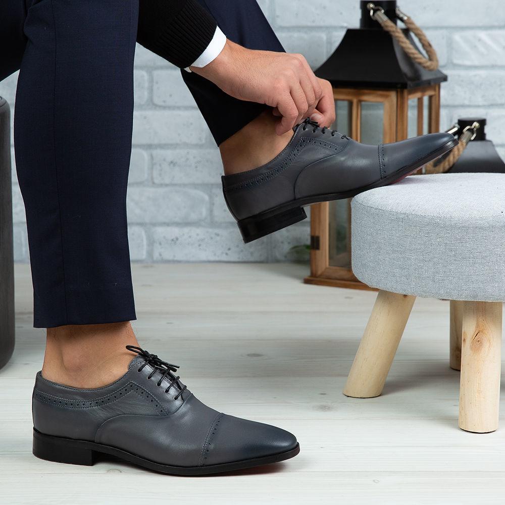 Imagine Pantofi eleganți bărbați din piele naturală 394 Gri