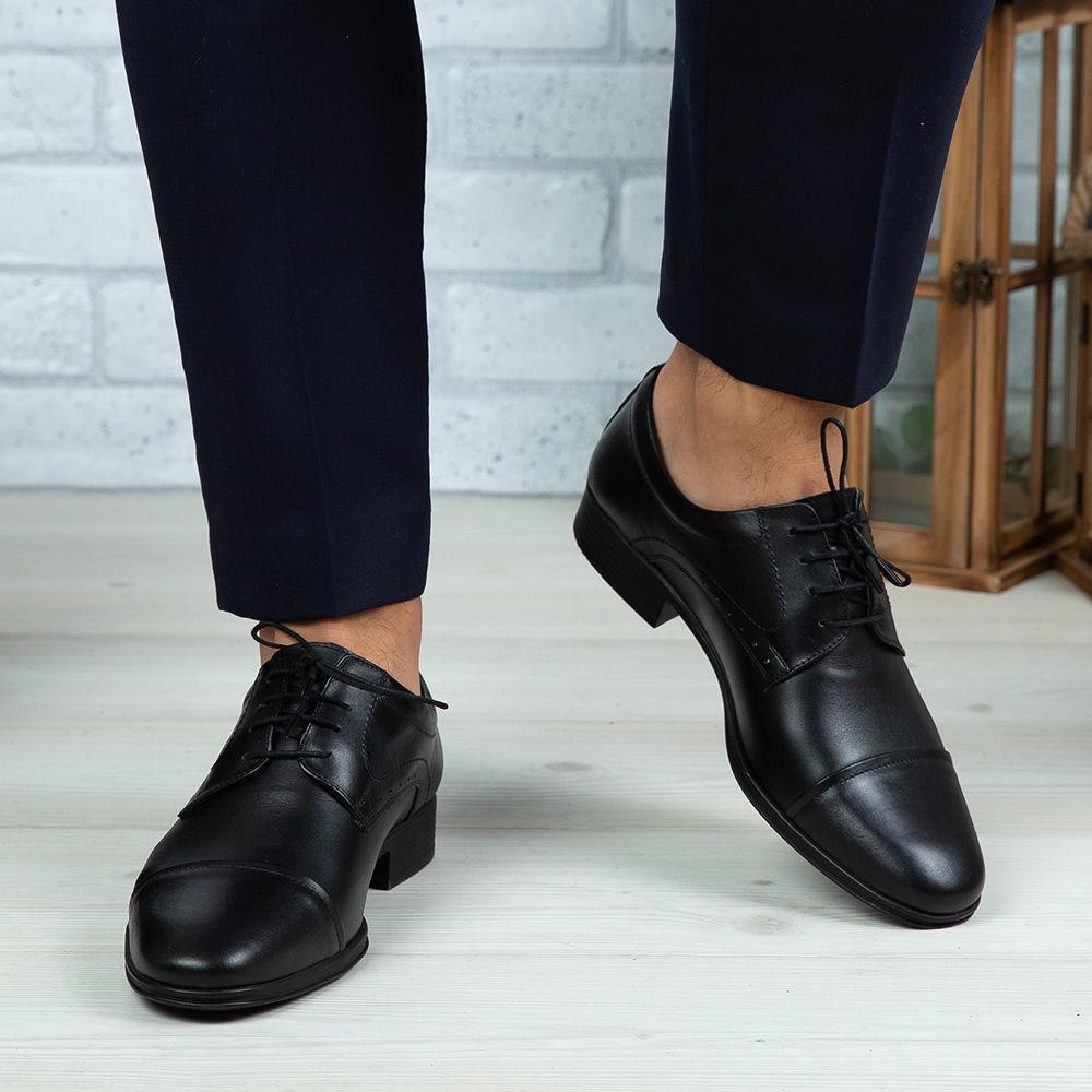 Imagine Pantofi eleganți bărbați din piele naturală 309-R2 Negru