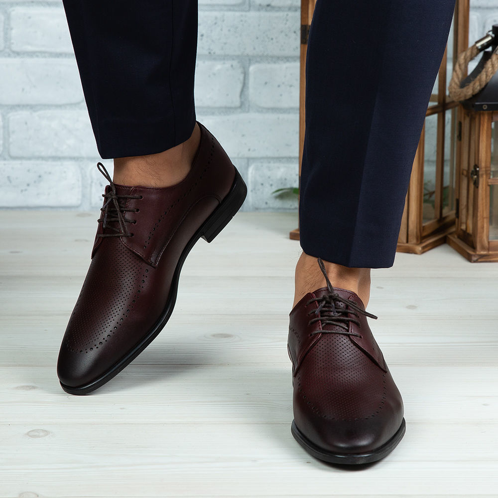Imagine Pantofi eleganți bărbați din piele naturală 391 Vișiniu