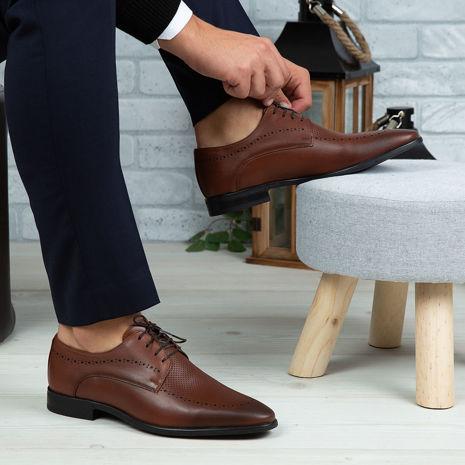 Imagine Pantofi eleganți bărbați din piele naturală 391 Maro