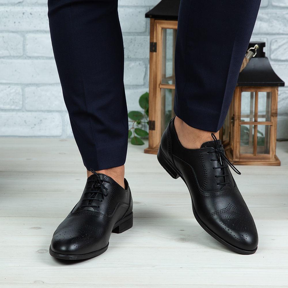 Imagine Pantofi eleganți bărbați din piele naturală 389 Negru