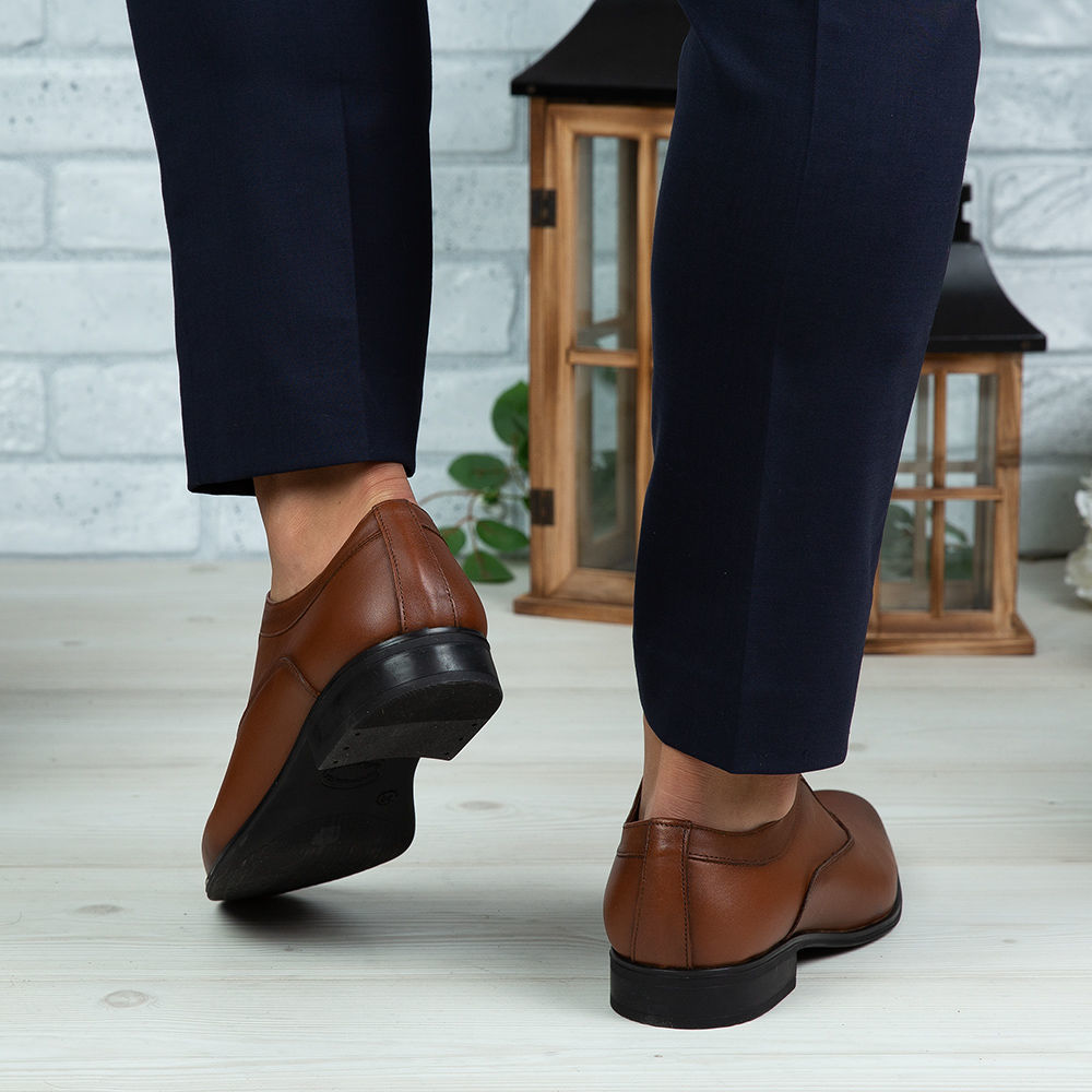 Imagine Pantofi eleganți bărbați din piele naturală 377 Maro