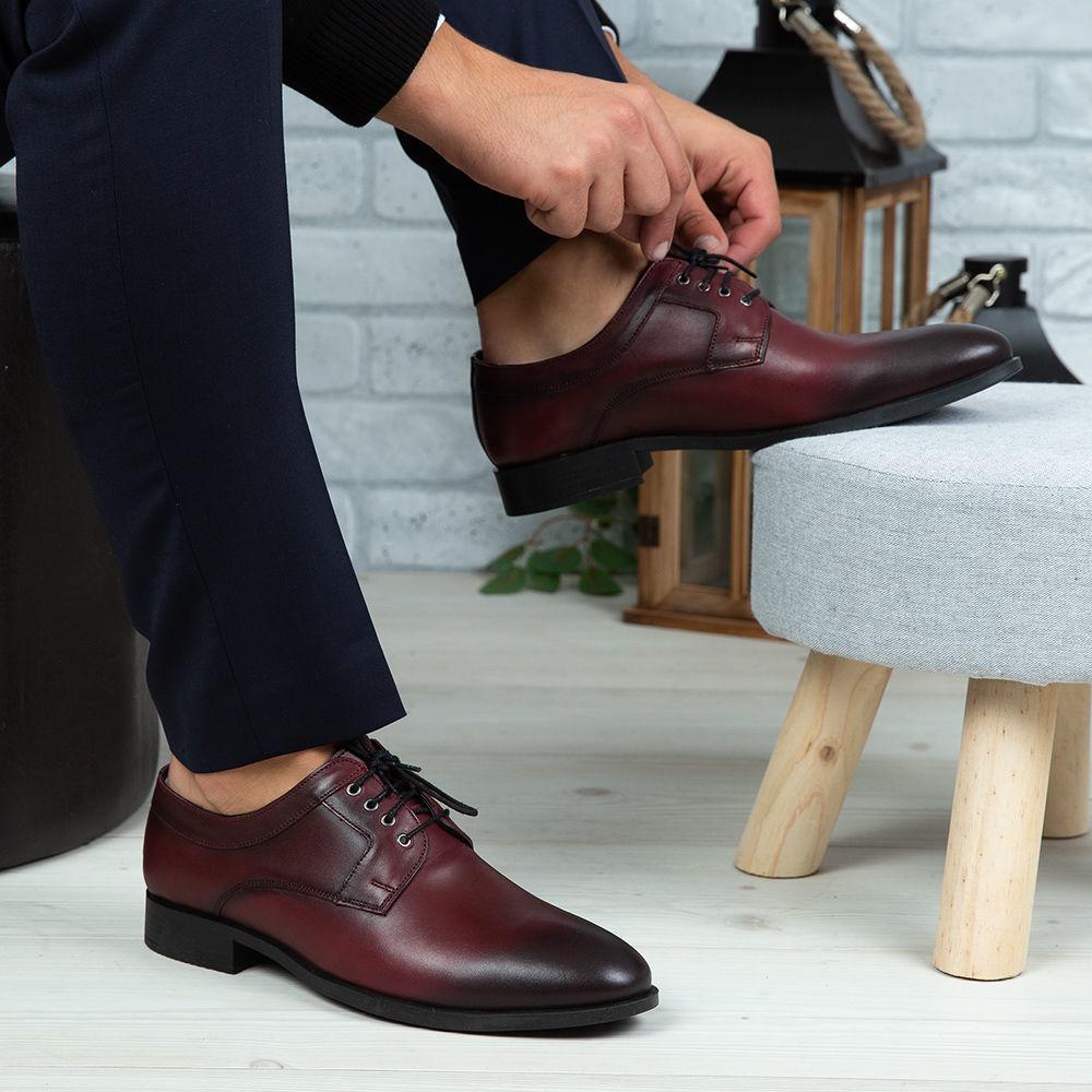 Imagine Pantofi eleganți bărbați din piele naturală 366 Vișiniu