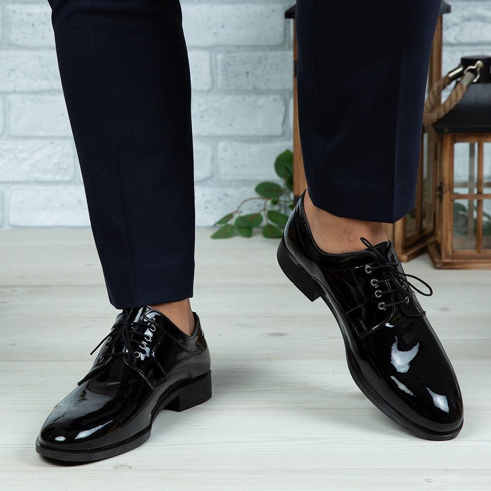 Imagine Pantofi eleganți bărbați din piele naturală 366 Negru Lac