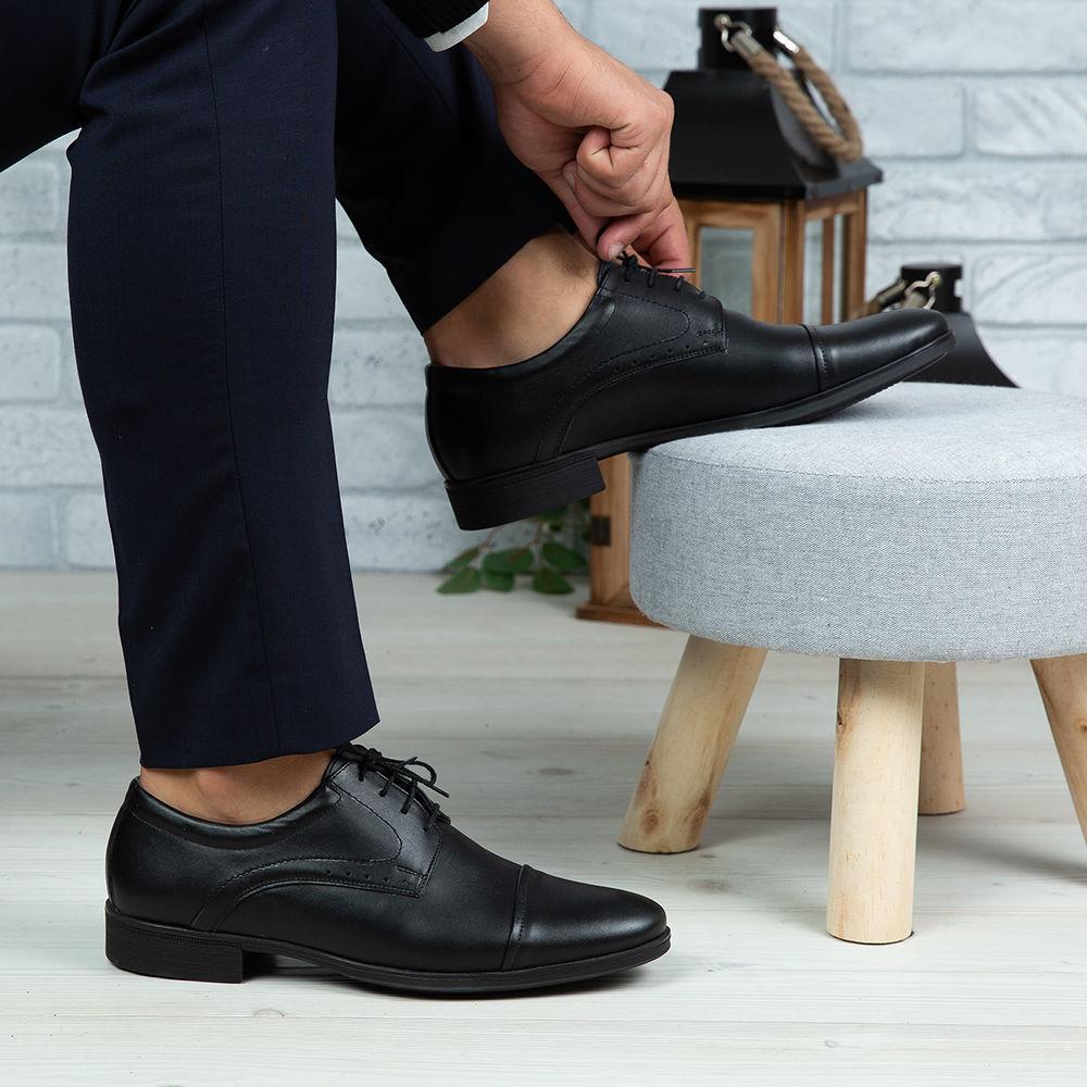 Imagine Pantofi eleganți bărbați din piele naturală 325 Negru