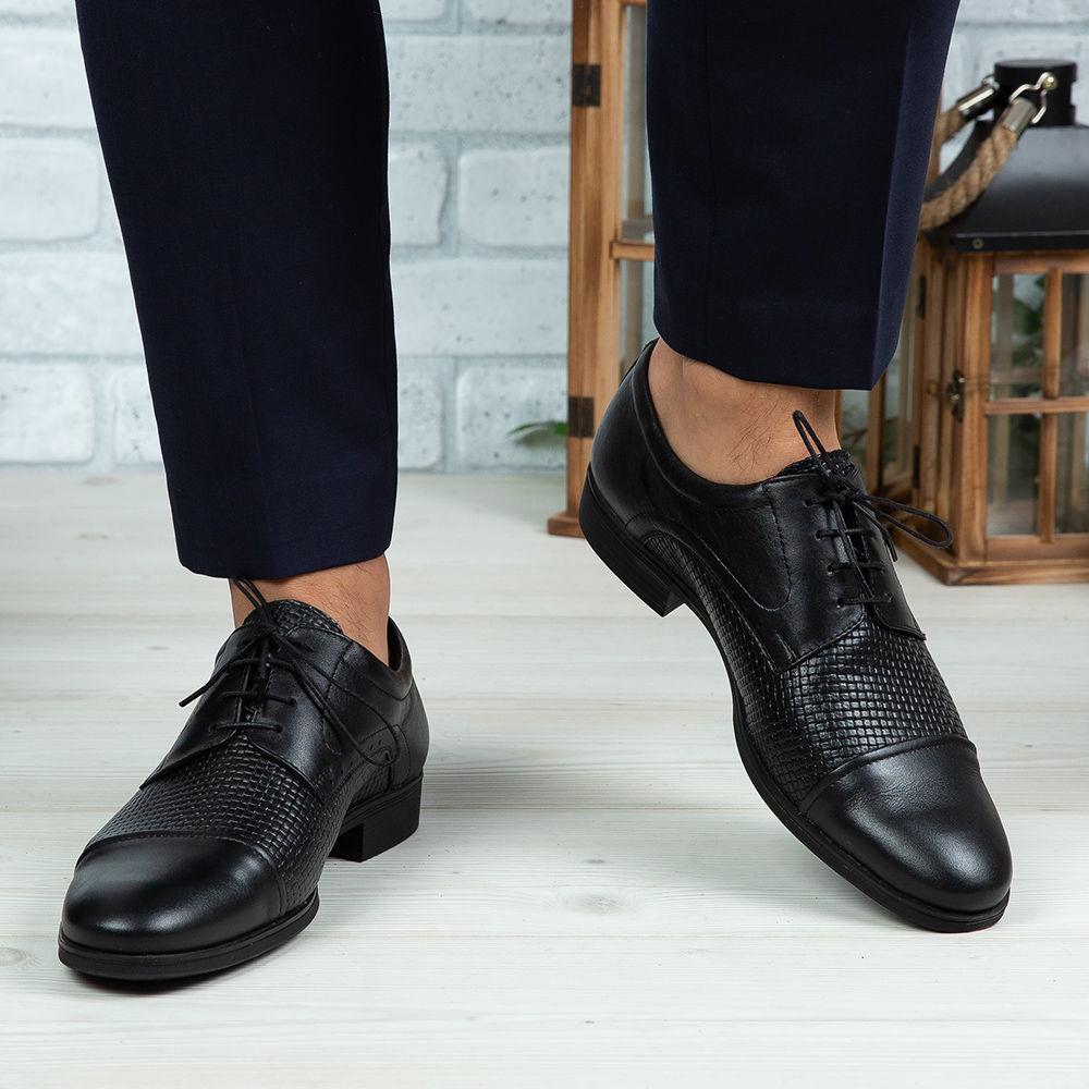 Imagine Pantofi eleganți bărbați din piele naturală 330 P Negru