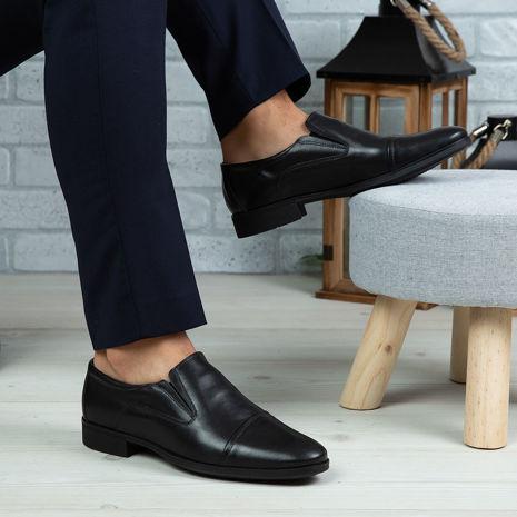 Imagine Pantofi eleganți bărbați din piele naturală 340 Negru